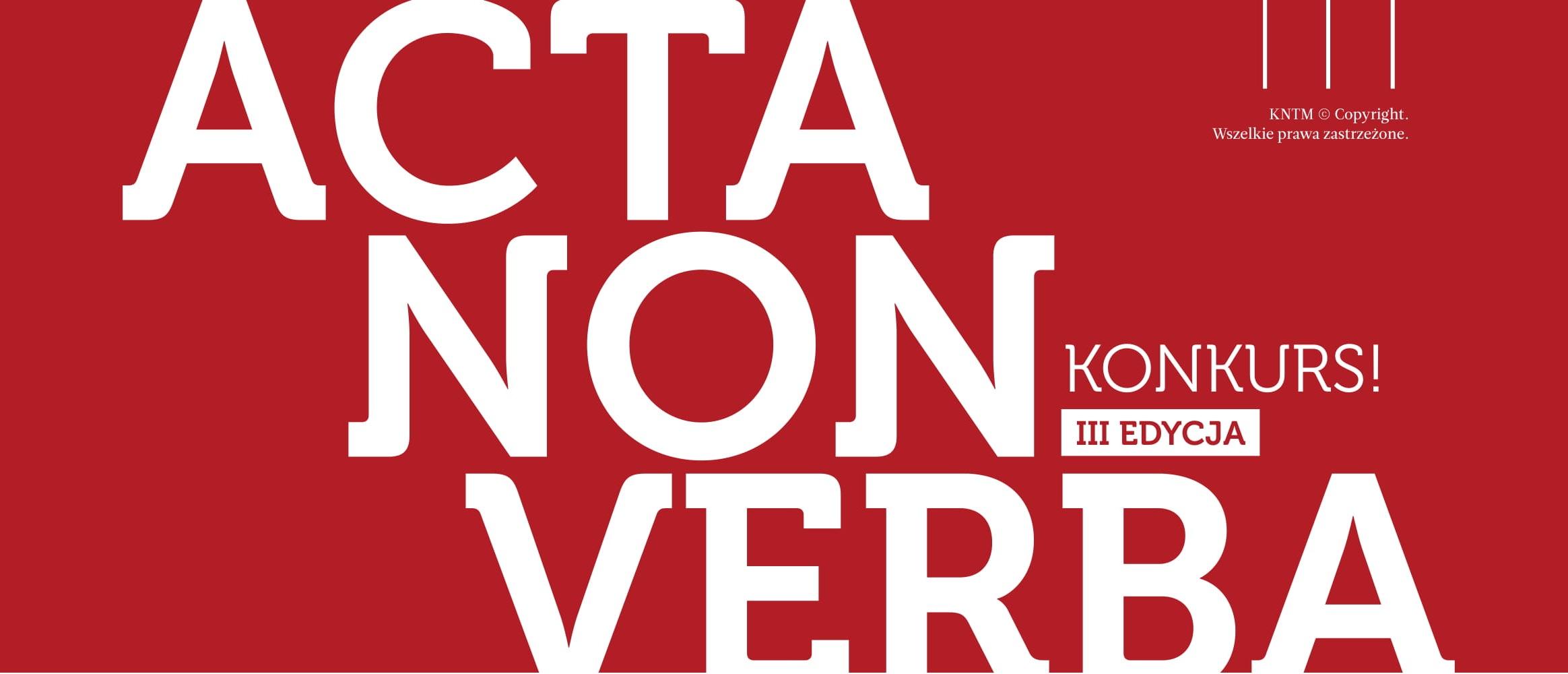LOGO ACTA NON VERBA III edycja